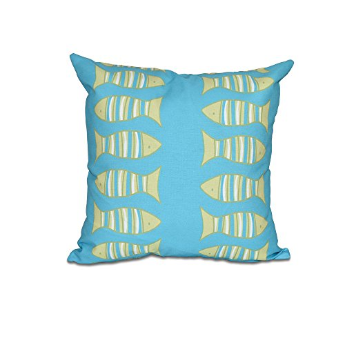 E by design O5PAN425BL27GR21-16 16 x 16'' Something's Fishy Animal Print Blue Outdoor Pillow by E by design