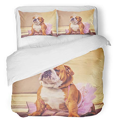 Emvency 3 Piece Duvet Cover Set Breathable Brushed Microfiber Fabric Cute Bulldog Dressed up in Pink Tutu and Princess Tiara Crown Toned with Retro Bedding with 2 Pillow Covers Full/Queen Size]()