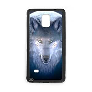 Fierce Wolf and Moon Plastic and TPU Case Cover for Samsung Galaxy Note 4 (Laser Technology)
