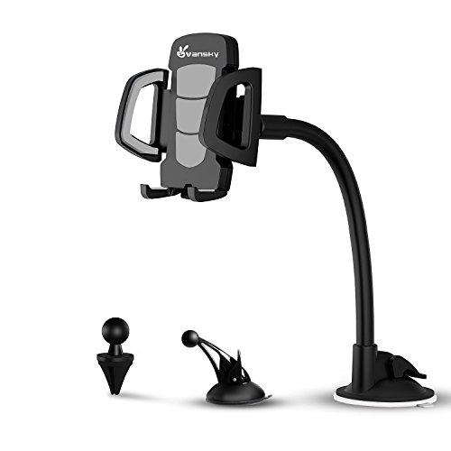 Vansky 3-in-1 Universal Car Phone Mount Phone Holder Cell Phone Car Air Vent Holder Dashboard Mount Windshield Mount for iPhone 6 6S 7 Plus Samsung Galaxy Note S6 S7 and More