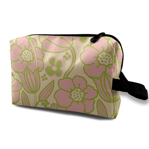 Big Mod Floral 12 Inch Pink Green_2661 Makeup Bag For Women Brushes Toiletry Jewelry Adjustable Dividers Women Light Gray