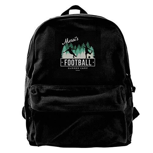 MIJUGGH Canvas Backpack Academies Messis Football Summer Camp Rucksack Gym Hiking Laptop Shoulder Bag Daypack for Men Women (Football Summer Camps)