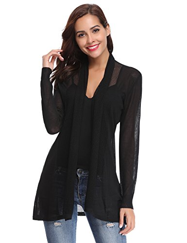 (Abollria Womens Casual Long Sleeve Open Front Cardigan Sweater(Black,XXL))