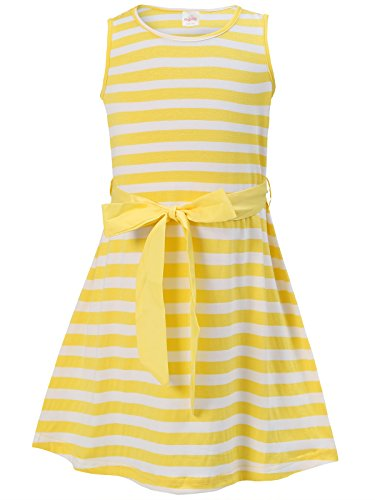 Bonny Billy Girls' Back to School Stripe Knit Dress with Removable Sash 4-5 Years Yellow]()