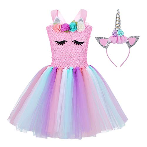 FEESHOW Kids Girls Rainbow Tutu Dress with Headband Halloween Cosplay Costumes Party Outfit Fancy Dress up Clothes Pink Black Eyes 4-5 -