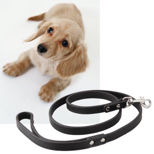 TOOGOO (R)Noir forte cuir Dressage de chiens animal de compagnie laisse guide 120cm