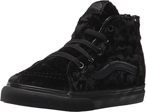 Vans SK8 Hi Zip Velvet Black/Black Skate Shoe 8.5 -