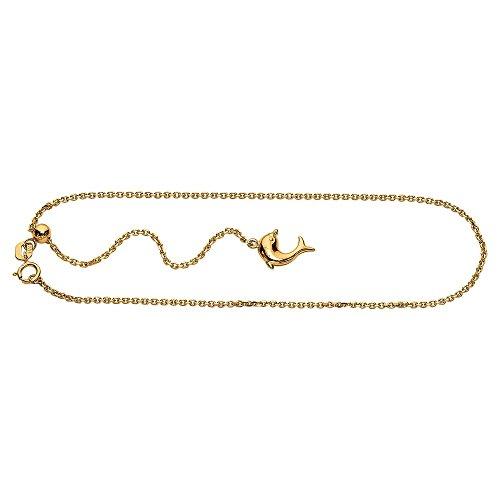 Or jaune 14 Carats Dauphins-câble ajustable-Chaîne de Cheville Bracelet-JewelryWeb