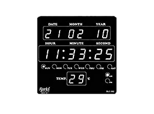 Ajanta Plastic Digital Wall Clock (25.4 cm x 3.5 cm x 25.4 cm, Black)