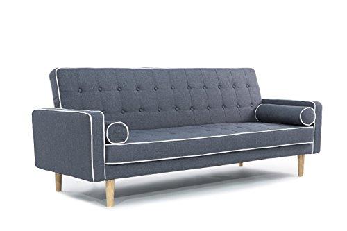 Mid Century Modern Two Tone Vintage Linen Sleeper Futon Sofa (Dark Grey)