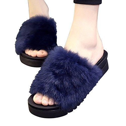 Femme Blue 1 37 décontracté COFCO décoratifs Black Soled 37 Home Thick 37 Pantoufles Pantoufle qggEpawA
