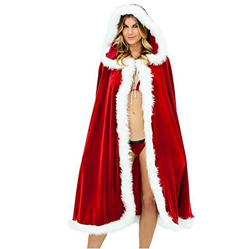 MEXUD Santa Claus Cloak Hooded Father Christmas Dress Costume Velvet Blend Cap (150) (How To Wear A Santa Hat)