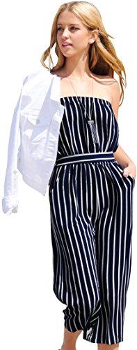 Trend Director Women's Navy & White Striped Waist Tie Sleeveless Romper Jumpsuit (Medium)