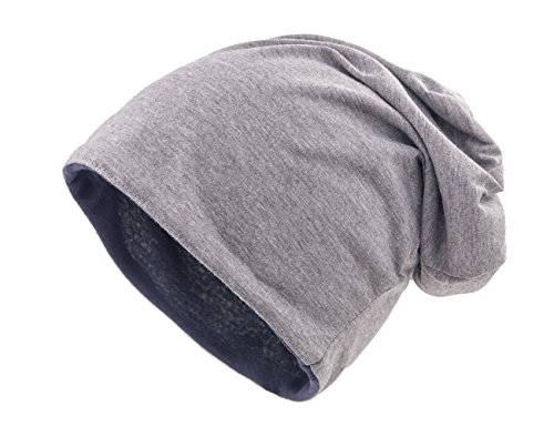 Reversible Colour - shenky Jersey Long Beanie Colors Summerbeanies from Germany hat (grey-navy reversible)
