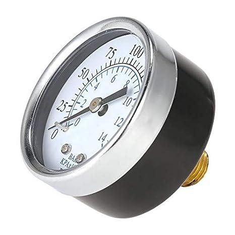 Medidor de presión de aire universal Compresor de aire Hidráulico 0-200 Psi 0-14 Bar Atrás Mnt 1/4 pulgada NPT Doble escala mostrada: Amazon.es: Bricolaje y ...