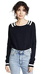 Autumn Cashmere Women S Varsity Sweater Navy Blue Bleach White X Small