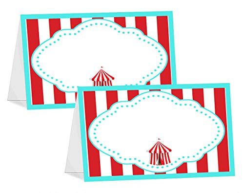 POP parties Circus Carnival - 12 Table Tents - Carnival Buffet Cards - Circus Carnival Place Cards - Carnival Decorations - Circus Decorations - Circus Party Supplies]()
