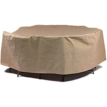 Duck Covers Essential Round Patio Table With Chairs Cover, 108 Inch