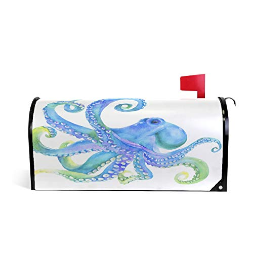 - MOFEIYUE Watercolor Ocean Animal Octopus Magnetic Mailbox Cover for Home Garden Yard Deco Makeover Mail Wrap