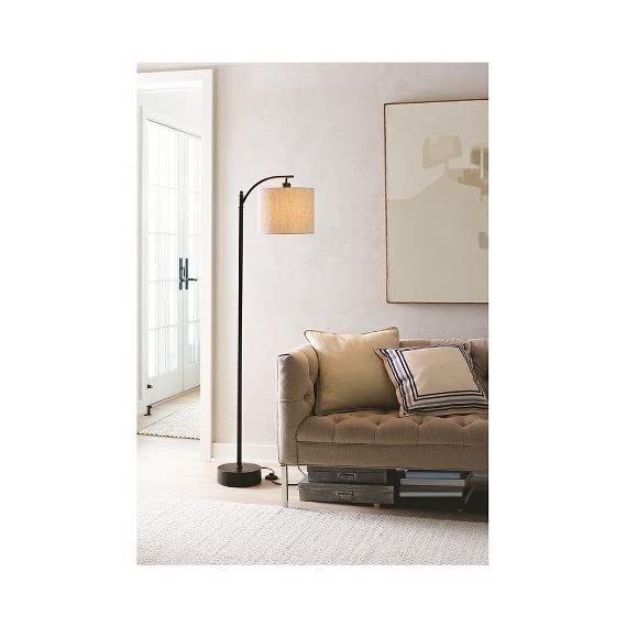 Threshold Black Downbridge Floor Lamp with Tan Shade -  - living-room-decor, living-room, floor-lamps - 41GhQ Cuw L. SS570  -