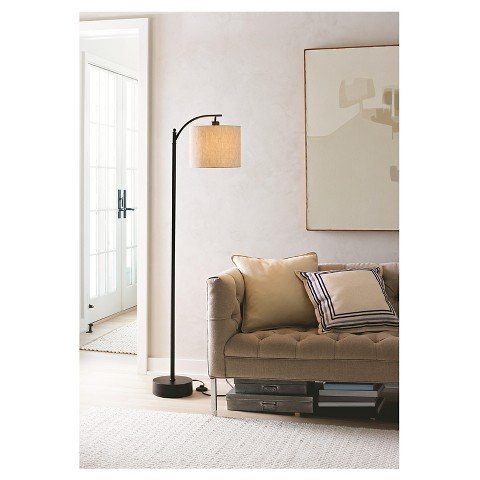 bridge Floor Lamp with Tan Shade ()