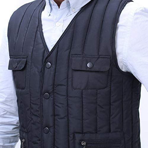 Vest Jacket Blue Outdoor Cargo Men's Padded Puffer TTYLLMAO Pockets Journalist Multi Quilted Down PwgqWvOF