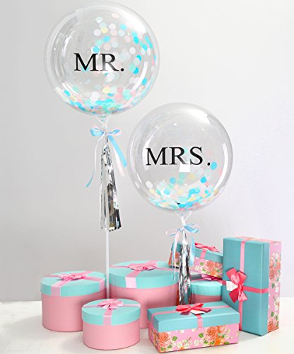 "Eanjia Mr.& Mrs. Wedding Confetti Balloons Kit 18"" Non-Latex Bubble Balloon Clear for Party Supplies with Tassel Personalised Wedding Photography Props Non Helium Balloon Stand Sticks (Ice Cream)"