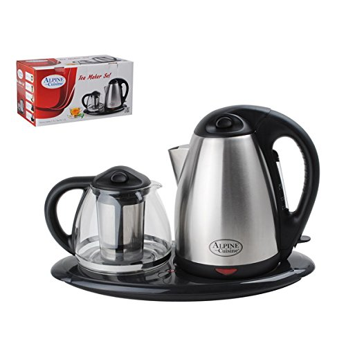 Aramco AI16155 1.7 L/1.5 L Electric Tea Maker Set, Chrome (Electric Tea Kettle With Tray)