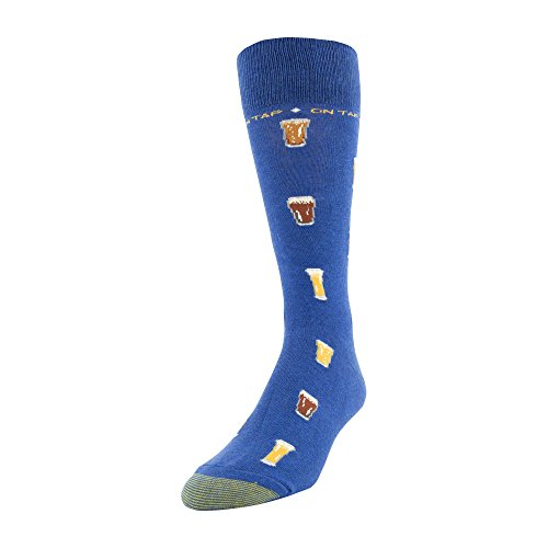 (Gold Toe Men's Printed Novelty Graphic Fashion Dress Crew Socks, 1 Pair, on on tap, Shoe Size:)