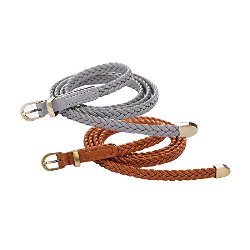 uxcell Women Woven Matel Keeper Arrow Tail Slender Waist Belt Gray+Camel (Skinny Braided Belt)