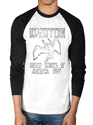 (Official Led Zeppelin USA 77 Tour Raglan Long Sleeve Baseball 2 Tone)