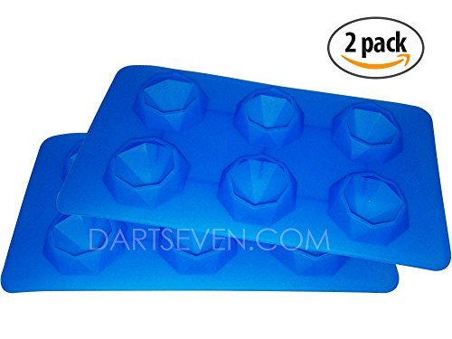 Fancy Diamond Ice Mold - Ice Tray - Cup Cake Topper - Soap - Wax – (6 Per Tray) Flexible Silicone Molds for Easy Removal of Diamond Shape. Diamonds Are A Drink's Best Friend!