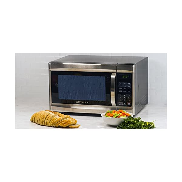 Emerson 1.3 CU. FT. 1000 Watt, Touch Control, Stainless Steel Front, Black Cabinet Microwave Oven, MW1338SB 3