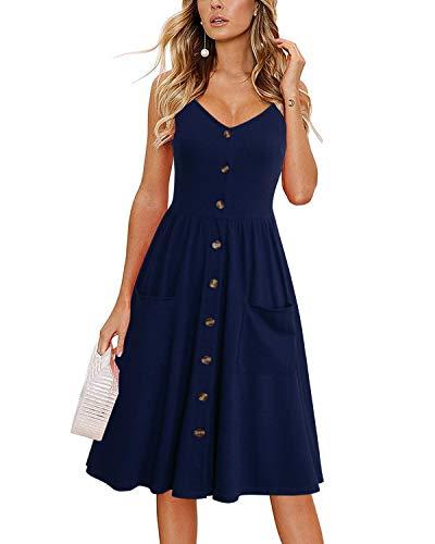 Lyrur Women Sundresses Flattering A Line Spaghetti Straps Button Down Midi Beach Summer Dress with Pockets(S, 9075-Navy Blue)