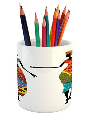 Ambesonne African Woman Pencil Pen Holder, Tribal Ladies in