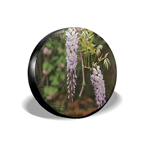 Tire Cover Spring Flowers Series Wisteria Trellis In Garden Polyester Universal Spare Wheel Tire Cover Wheel Covers Jeep Trailer RV SUV Truck Camper Travel Trailer Accessories 17 inch