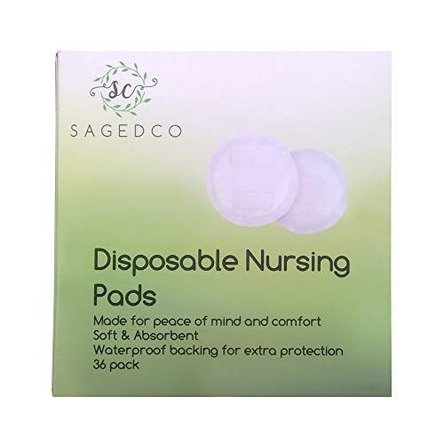 Nursing Pads by Saged & Co – Disposable Maternity Breast Pads – Waterproof, Light, Thin, Seamless and Contoured to Your Shape to give Full Protection Day and Night – for Breastfeeding Women