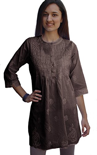 Buy embroidered cotton tunic dress - 6
