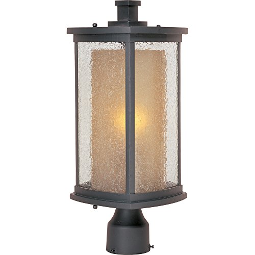 galow 1-Light Outdoor Pole/Post Lantern, Bronze Finish, Seedy/Wilshire Glass, MB Incandescent Incandescent Bulb , 60W Max., Dry Safety Rating, Standard Dimmable, Glass Shade Material, Rated Lumens ()