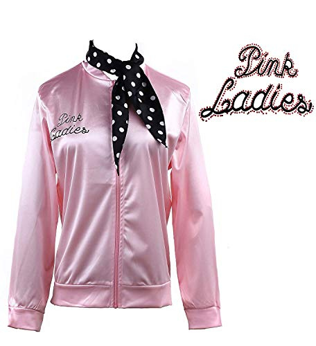 50S Grease Pink Ladies Satin Jacket T-Bird Danny Costume Polka Dot Scarf (M, Rhinestore) -