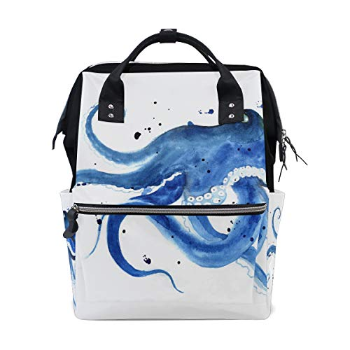 (Octopus Sea Devilfish Water Color Large Capacity Diaper Bags Mummy Backpack Multi Functions Nappy Nursing Bag Tote Handbag for Children Baby Care Travel Daily Women)