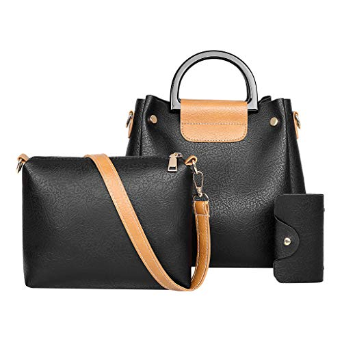 - Bsjmlxg 3Pcs Women Solid Color Leisure Fashion Simple Casual Vintage Multifunction Leather Handbag+Messenger Bags+Wallets