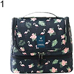 millet16zjh ⓂⒾⓁDouble Layer Travel Toilet Bag Women Makeup Case Hook Cosmetic Pouch Organizer,Portable, Lightweight and Compact: for Your Travel Use - Flamingo
