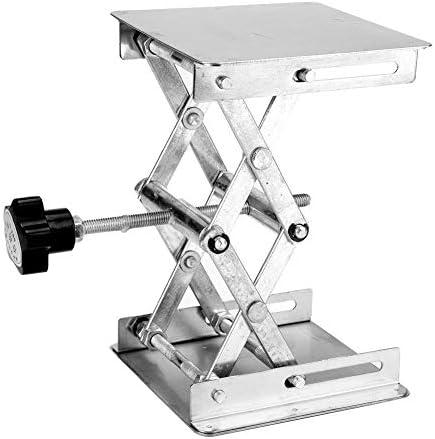 KSTE Edelstahl Laborhebebühne Ständer Scherengestell 100 * 100 * 160mm (schwarz Griff)