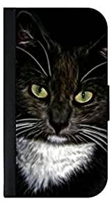 Cat with Green Eyes- Apple Iphone 5c -Wallet Case with Flip Cover and Magnetic Clasp-Leather-Look