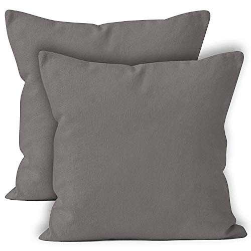 Encasa Homes Throw Cushion Cover 2pc Set - Grey - 24 x 24 inch Solid Dyed Cotton Canvas Square Accent Decorative Pillow Case for Couch Sofa Chair Bed & Home ()