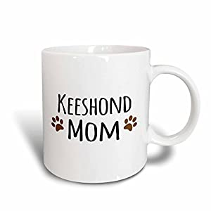 3dRose mug_154143_2 Keeshond Dog Mom Doggie by Breed Brown Muddy Paw Prints Doggy Lover Proud Pet Owner Mama Love Ceramic Mug, 15-Ounce 16