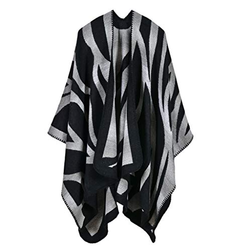 Women's Scarf Shawl Faux Cashmere Long Wrap Poncho Blanket Spring Autumn Black