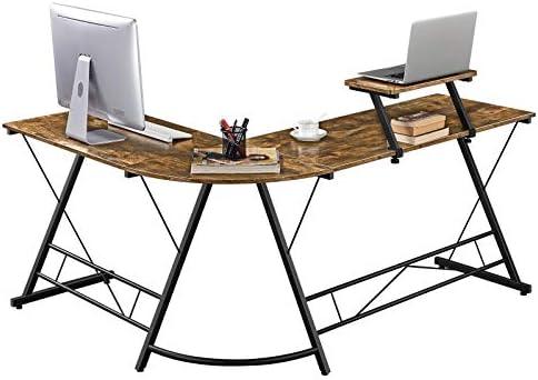 Topeakmart 64 inch L-Shaped Computer Desk Corner Desk