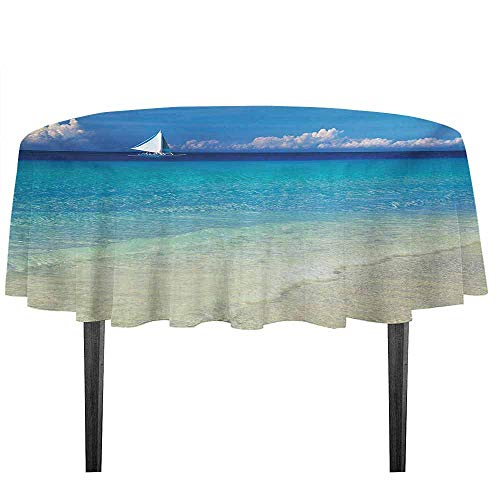 kangkaishi Nautical Waterproof Anti-Wrinkle no Pollution Exotic Tropic Beach in Philippines Island Horizon Summer Paradise Concept Table Cloth D43.3 Inch Turquoise Cream